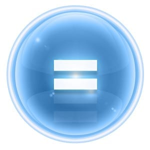 equal sign in blue