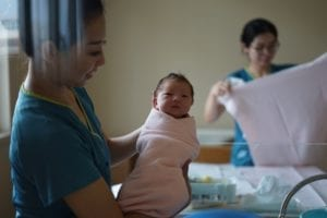 newborn and nurse
